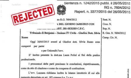 SDL Centrostudi perde nel Tribunale di Bergamo