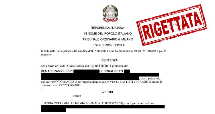 SDL Centrostudi: SENTENZA di soccombenza al n. r.g. 64615/2013 – Tribunale di Milano